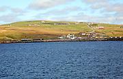 View of Ulsta, Yell island from ferry, Yell, Shetland Islands, Scotland