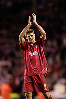 Photo: Jed Wee.<br /> Liverpool v Benfica. UEFA Champions League. 08/03/2006.<br /> <br /> Liverpool's Steven Gerrard wears a pained expression as he applauds the fans at the end of the game.