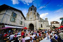 Villagers enjoy an open air feast on Bastille Day in Issigeac, France<br /> <br /> (c) Andrew Wilson | Edinburgh Elite media