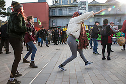 London, UK. 9th February, 2019. Activists from Extinction Rebellion in Gillett Square in Dalston as part of a 'Saturday street party' intended as a means of engagement around climate change and environmental issues with the local community.