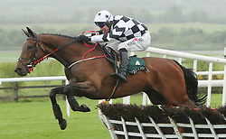 Pearl Of The West ridden by Robbie Power jumps the last to win The Killashee Handicap Hurdle during day one of the Punchestown Festival at Punchestown Racecourse, County Kildare, Ireland.