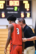 NORTH AUGUSTA, SC. July 10, 2019. Coach talks to Tramon Mark 2020 #3 of Houston Hoops 17U at Nike Peach Jam in North Augusta, SC. <br /> NOTE TO USER: Mandatory Copyright Notice: Photo by Alex Woodhouse / Jon Lopez Creative / Nike
