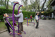Elderly women exercise at Fuxing Park in Shanghai, China, on Sunday, April 10, 2016. An rapidly ageing demographic is one of the main challenges facing China as society is greying before the country became a developed nation.