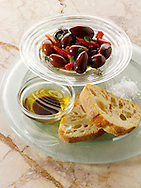 Olives, dipping oil and chiabatta snack