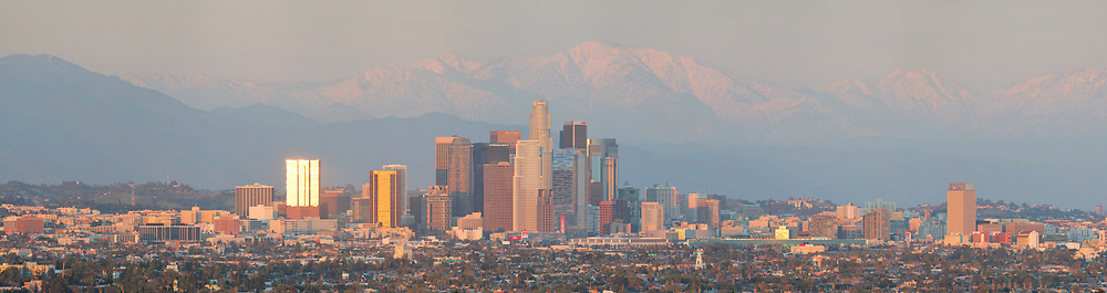 Late afternoon light over downtown Los Angeles. <br /> <br /> Panoramic available up to 13279 x 3514 pixels.
