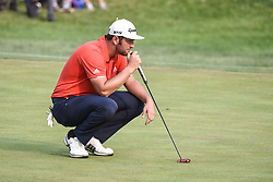 August 12, 2018 - Town And Country, Missouri, U.S - JON RAHM from Spain lines up a putt on the 18th green during round four of the 100th PGA Championship on Sunday, August 12, 2018, held at Bellerive Country Club in Town and Country, MO (Photo credit Richard Ulreich / ZUMA Press) (Credit Image: © Richard Ulreich via ZUMA Wire)