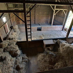 Inside the red barn at the Smyrski Farm in New Milford, Connecticut.  Weantinoge Heritage Land Trust property.