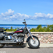 Harley Davidson Fat Boy Overlooking Lake Superior