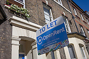 A letting agent board outside terraced homes in Walworth, south London. OpenRent is an online letting agent and property service provider, founded in 2012. It is a UK-based startup company focused on technological solutions to property rentals.
