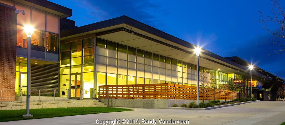 Photo Randy Vanderveen<br /> 2019-05-13<br /> Grande Prairie, Alberta<br /> Montrose Cultural Centre  containing Teresa Sargent Hall, Grande Prairie Public Library and Art Gallery of Grande Prairie Photographs of sites around Grande Prairie