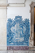 Painted blue tiles at the Convent of Saint Peter of Alcantara (Convento de Sao Pedro de Alcantara), Bairro Alto, Lisbon, Portugal