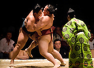 Homasho (left) competes against Kisenosato  in the second round of Day 1 of Grand Sumo Tournament Los Angeles 2008, Los Angeles Sports Arena, Los Angeles, California