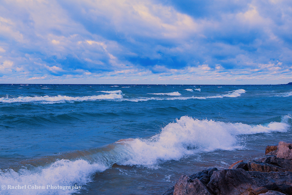 """""""Morning on the Waves"""" <br /> <br /> A really lovely morning on Lake Michigan in the Upper Peninsula along the shore. Beautiful white capped waves, blue water, and wonderful clouds!"""