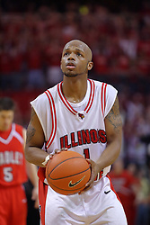 """31 January 2009: Emmanuel Holloway. The Illinois State University Redbirds join the Bradley Braves in a tie for 2nd place in """"The Valley"""" with a 69-65 win on Doug Collins Court inside Redbird Arena on the campus of Illinois State University in Normal Illinois"""