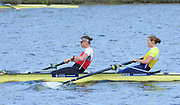 Reading. United Kingdom.  GBR W2-. Bow Helen GLOVER and Heather STANNING, in the opening strokes of the morning time trial. 2014 Senior GB Rowing Trails, Redgrave and Pinsent Rowing Lake. Caversham.<br /> <br /> 10:42:57  Saturday  19/04/2014<br /> <br />  [Mandatory Credit: Peter Spurrier/Intersport<br /> Images]