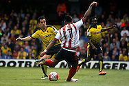 Jeremain Lens of Sunderland scoring Sunderland's second goal. Barclays Premier league match, Watford v Sunderland at Vicarage Road in Watford, London on Sunday 15th May 2016.<br /> pic by Steffan Bowen, Andrew Orchard sports photography.