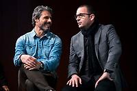 "Rafael Alkorta and Pedja Mijatovic during the presentation of the new tv program #0 of Movistar+ ""Caos FC"" at Ciudad del Futbol of Las Rozas in Madrid. November 21, Spain. 2016. (ALTERPHOTOS/BorjaB.Hojas)"