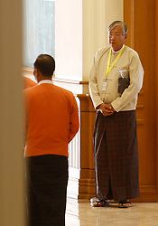 Presidential candidate U Htin Kyaw (R) of the National League for Democracy (NLD) arrives at the Union Parliament in Nay Pyi Taw, Myanmar, March 15, 2016. U Htin Kyaw of Myanmar's ruling National League for Democracy (NLD), led by Aung San Suu Kyi, won the presidential election Tuesday with the highest number of votes through secret voting, becoming the country's new president for the next five-year term, (lyi). EXPA Pictures © 2016, PhotoCredit: EXPA/ Photoshot/ U Aung<br /> <br /> *****ATTENTION - for AUT, SLO, CRO, SRB, BIH, MAZ, SUI only*****
