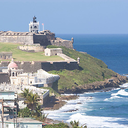 The view towards El Morro from atop Fort San Cristobal in San Juan, Puerto Rico.