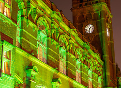 © Licensed to London News Pictures. 14/06/18. London UK.Newham Town Hall, East Ham, east London<br /> One year after the Grenfell Tower fire, where 72 people lost their lives, public buildings across London were lit green at 1am, the time the fire started.  Photo credit: Andrew Baker/LNP
