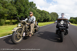 Randy Samz riding his 1942 Harley-Davidson WLA alongside Jeff Milburn on his 1937 HD WL 750cc Flathead during the Cross Country Chase motorcycle endurance run from Sault Sainte Marie, MI to Key West, FL. (for vintage bikes from 1930-1948). Stage-9 covered 259 miles from Lakeland, FL to Miami, FL USA. Saturday, September 14, 2019. Photography ©2019 Michael Lichter.