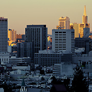 View of San Francisco's Civic Center and downtown areas, taken from Mission area near Delores Park.