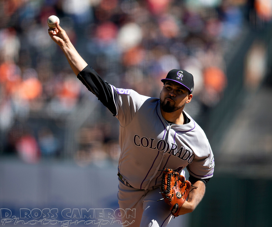 Sep 16, 2018; San Francisco, CA, USA; Colorado Rockies starting pitcher Antonio Senzatela (49) delivers against the San Francisco Giants during the first inning of a Major League Baseball game at AT&T Park. Mandatory Credit: D. Ross Cameron-USA TODAY Sports
