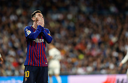 March 2, 2019 - Madrid, Spain - FC Barcelona's Lionel Messi reacts during La Liga match between Real Madrid and FC  Barcelona at Santiago Bernabéu in Madrid..Final Score: Real Madrid 0 - 1 FC Barcelona (Credit Image: © Manu Reino/SOPA Images via ZUMA Wire)