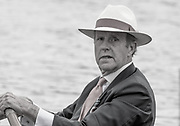 "Henley on Thames. United Kingdom.   Ex HRR Press Officier, George LAWSON, in his skiff ""Moth"".   Sunday,  03/07/2016,      2016 Henley Royal Regatta, Henley Reach.   [Mandatory Credit Peter Spurrier/Intersport Image]"