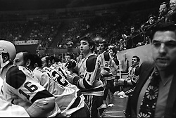 California Golden Seals bench...coach Fred Glover on far right...at the Oakland Alameda County Coliseum.<br />(1970 photo by Ron Riesterer)