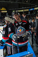 KELOWNA, CANADA - SEPTEMBER 28: Cal Foote #25 of Kelowna Rockets stands on the bench against the Prince George Cougars on September 28, 2016 at Prospera Place in Kelowna, British Columbia, Canada.  (Photo by Marissa Baecker/Shoot the Breeze)  *** Local Caption *** Cal Foote;