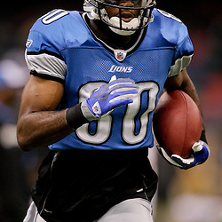 2009 September 13: Detroit Lions wide receiver Bryant Johnson (80) run in warm ups before a week one regular season game between the New Orleans Saints and the Detroit Lions at the Louisiana Superdome in New Orleans, Louisiana.