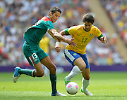 Wembley, Greater London, GREAT BRITAIN..Description:  right: Brazilian: Alexandre PATO, and Mexican Diego REYES contest the ball;   2012 Olympic Football Men's Final: Brazil vs Mexico [Gold medal Game] at Wembley Stadium, London..16:29:40  Saturday   11/08/2012  [Mandatory Credit: Peter Spurrier/Intersport Images]  Wembley, Great Britain,