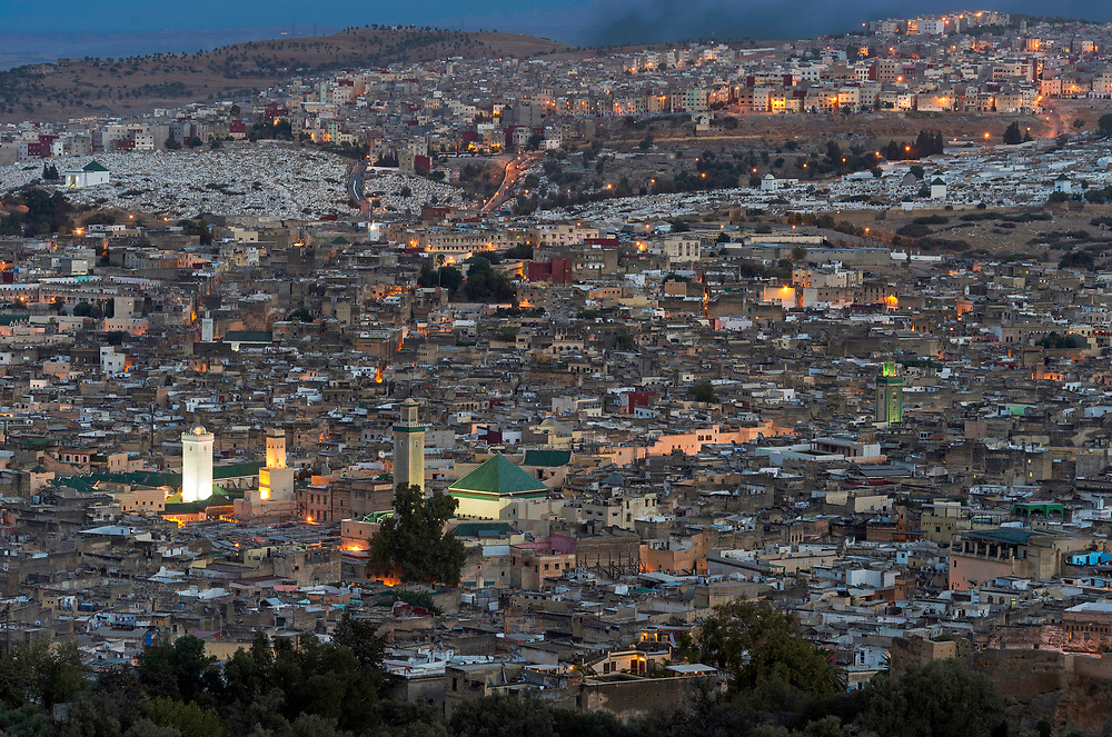 Overview of the ancient Medinah of Fes at dusk