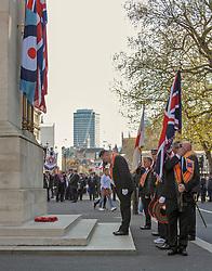 Orange men of the Orange order lay wreaths at the Cenotaph London.<br /> Richard Hancox | EEm 13042019