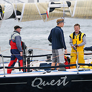 Quest at the start of the 2009 Rolex Sydney to Hobart Yacht Race in Sydney Harbour. Skippered by Bob Steel, Quest came 16th in overall Line Honours.