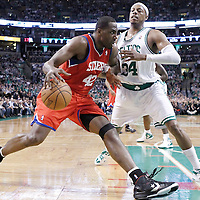 21 May 2012: Philadelphia Sixers power forward Elton Brand (42) drives past Boston Celtics small forward Paul Pierce (34) during the Boston Celtics 101-85 victory over the Philadelphia Sixer, in Game 5 of the Eastern Conference semifinals playoff series, at the TD Banknorth Garden, Boston, Massachusetts, USA.