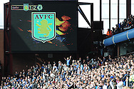 Chelsea fans celebrate as their side go 2-1 up. Barclays Premier League, Aston Villa v Chelsea at Villa Park in Birmingham on Saturday 11th May 2013. pic by Andrew Orchard,  Andrew Orchard sports photography,