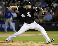 CHICAGO - JUNE 21:  Sergio Santos #46 of the Chicago White Sox pitches against the Chicago Cubs on June 21, 2011 at U.S. Cellular Field in Chicago, Illinois.  The White Sox defeated the Cubs 3-2.  (Photo by Ron Vesely)  Subject:  Sergio Santos