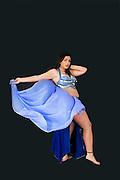 Belly dancer in blue On black Background