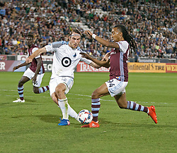 March 18, 2017 - Commerce City, Colorado, U.S - Rapids MARION HAILSTONE, right, battles with Minnesota's BRENT KALLMAN, left, as he makes a run to the goal during the 1st. Half at Dicks Sporting Goods Park Sat. night. The Rapids draw 2-2 to Minnesota United FC. (Credit Image: © Hector Acevedo via ZUMA Wire)