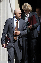 Downing Street, London, May 3rd 2016. State for Business Secretary Sajid Javid and Small Business Minister Anna Soubry leave 10 Downing Street following the weekly cabinet meeting. ©Paul Davey<br /> FOR LICENCING CONTACT: Paul Davey +44 (0) 7966 016 296 paul@pauldaveycreative.co.uk