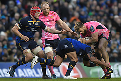 December 16, 2017 - Dublin, Ireland - Luke Cowan-Dickie of Exeter tackled by Leinster's Isa Nacewa during Leinster vs Exeter Chiefs - the  European Rugby Champions Cup rugby match at Aviva Stadium...On Saturday, 16 December 2017, in Dublin, Ireland. (Credit Image: © Artur Widak/NurPhoto via ZUMA Press)