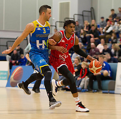 Justin Gray of Bristol Flyers (R) and Momcilo Latinovic of Cheshire Phoenix in action - Photo mandatory by-line: Jack Phillips/JMP - 25/11/2018 - BASKETBALL - Ellesmere Port Arena - Ellesmere Port, England - Cheshire Phoenix v Bristol Flyers - {event}