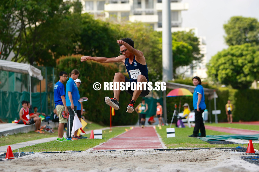 Bishan Stadium, Monday, April 18, 2016 — Joseph Johnathan Zhao of Hwa Chong Institution (HCI) leapt a massive 14.40 metres in the A Division Boys' triple jump to claim his second gold medal of the 57th National Schools Track and Field Championships.<br /> <br /> A week earlier, he had won the long jump with a 6.97m leap.