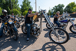 Randal Noldge leaving on Aidan's Ride from the Iron Horse Saloon during the Sturgis Black Hills Motorcycle Rally. Sturgis, SD, USA. Tuesday, August 6, 2019. Photography ©2019 Michael Lichter.