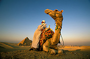 Camel drivers at the great pyramids at Giza, Egypt