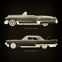 For the lover of old classic cars, this combination of a Cadillac Deville Convertible 1948 and Cadillac Eldorado Brougham 1957 is truly a beautiful work to have in your home.<br /> The classic Cadillac Deville Convertible 1948 and the beautiful Cadillac Eldorado Brougham are among the most beautiful cars ever built.<br /> You can have this work printed in various materials and without loss of quality in all formats.<br /> For the oldtimer enthusiast, the series by the artist Jan Keteleer is a dream come true. The artist has made a fine selection of the very finest cars which he has meticulously painted down to the smallest detail. – –<br /> -<br /> <br /> BUY THIS PRINT AT<br /> <br /> FINE ART AMERICA<br /> ENGLISH<br /> https://janke.pixels.com/featured/cadillac-deville-convertible-1948-and-cadillac-eldorado-brougham-1957-jan-keteleer.html<br /> <br /> WADM / OH MY PRINTS<br /> DUTCH / FRENCH / GERMAN<br /> https://www.werkaandemuur.nl/nl/shopwerk/Cadillac-Deville-Convertible-1948-en-Cadillac-Eldorado-Brougham-1957/757025/132?mediumId=1&size=60x60<br /> –