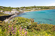 Coastal landscape bay and village houses, Coverack, Lizard Peninsula, Cornwall, England, UK