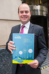 Lobbyists from the High Speed Rail for Liverpool Campaign deliver their Independent Economic Study for HS2 and the Liverpool City Region to the Department for Transport at Great Minster House in Wesminster, London. Pictured: Liverpool City Councillor Liam Robinson.
